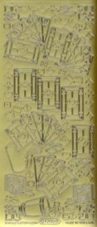 Zier-Sticker-Bogen-Karten-Skat-Herz/Pik/Karo/Kreuz-gold-1205g