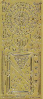 Zier-Sticker-Bogen-Billiard-Dart-Motive-gold-1209g