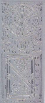 Zier-Sticker-Bogen-Billiard-Dart-Motive-silber-1209s