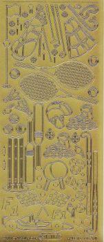 Zier-Sticker-Bogen-Sport-Motive-Tennis,Golf,F1-gold-1211g