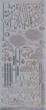 Zier-Sticker-Bogen-Sport-Motive-Tennis,Golf,F1-silber-1211s