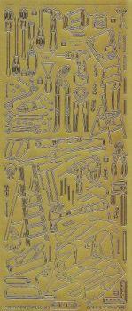 Zier-Sticker-Bogen-Werkzeug-Handwerker-Motive-gold-1213g