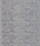 Zier-Sticker-Bogen-Jubiläumszahlen 25 -silber-1220s