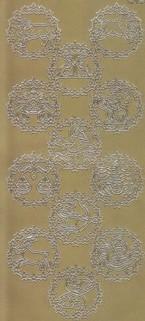 Zier-Sticker-Bogen-12 Sternzeichen -gold-1221g