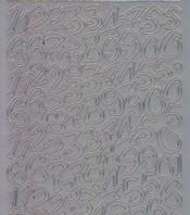 Zier-Sticker-Bogen-schräge verrückte Zahlen-silber-1228s