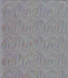 Zier-Sticker-Bogen-Jubiläums-Zahlen 60-silber-1233s