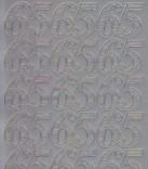 Zier-Sticker-Bogen-Jubiläums-Zahlen 65-silber-1234s