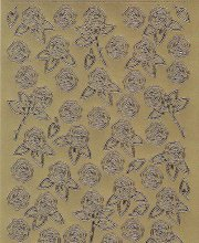 Zier-Sticker-Bogen-kleine Rosen-gold-1257g