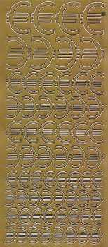 Zier-Sticker-Bogen-Euro Zeichen-verschiedene Größen-gold-1300g