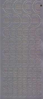 Zier-Sticker-Bogen-Euro Zeichen-verschiedene Größen-silber-1300s