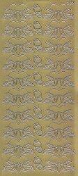 Zier-Sticker-Bogen-1393g-Tauben-Turteltauben im Herz-gold