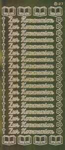 Zier-Sticker-Bogen-1420spfg-Spiegelfolie-Zur Kommunion-gold