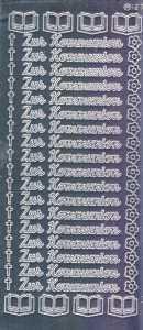 Zier-Sticker-Bogen-1420spfs-Spiegelfolie-Zur Kommunion-silber