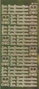 Zier-Sticker-Bogen-1421spfg-Spiegelfolie-Zur Konfirmation-gold