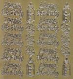 Zier-Sticker-Bogen-1450g-Hurra ein Baby-gold