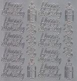 Zier-Sticker-Bogen-1450s-Hurra ein Baby-silber