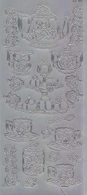 Zier-Sticker-Bogen -Kaffetafel-silber-1488s