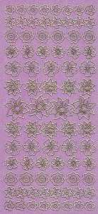 Diamant-Zier-Sticker-Bogen-1490dpig-Blumen-pink-gold