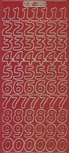 Zier-Sticker-Bogen-große Zahlen-dunkelrot-gold-1568drg