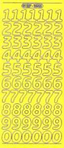 Zier-Sticker-Bogen-große Zahlen-gelb-gold-1568geg