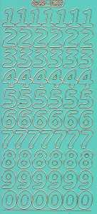 Zier-Sticker-Bogen-große Zahlen-grün-gold-1568hgrg
