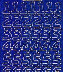 Zier-Sticker-Bogen-große Zahlen-holo-blau-gold-1568hoblg