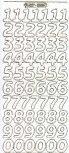 Zier-Sticker-Bogen-1568wg-große Zahlen-weiß-gold
