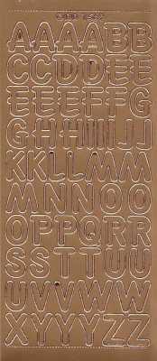 Zier-Sticker-Bogen-große Buchstaben-ABC-kupfer-1569k