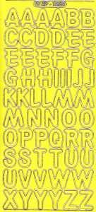 Zier-Sticker-Bogen-große Buchstaben-ABC-gelb-gold-1569geg