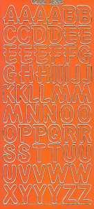 Zier-Sticker-Bogen-große Buchstaben-ABC-orange-gold-1569org