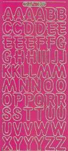 Zier-Sticker-Bogen-große Buchstaben-ABC-pink-gold-1569pig