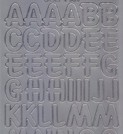 Zier-Sticker-Bogen-große Buchstaben-ABC-silber-1569s