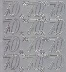 Zier-Sticker-Bogen-Jubiläumszahlen 70 -silber-1611s