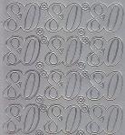 Zier-Sticker-Bogen-Jubiläumszahlen 80 -silber-1613s
