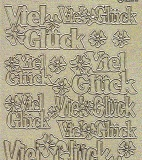 Diamant-Zier-Sticker-Bogen-Viel Glück-gold-1653dg