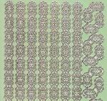 Zier-Sticker-Bogen-Spiegelfolie-Ecken und Ränder-grün/gold-1670grg