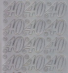 Zier-Sticker-Bogen-Jubiläumszahlen 40 -silber-1681s