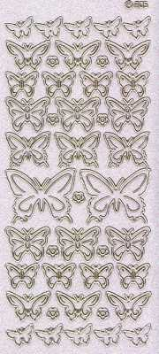 Micro-Glittersticker-Bogen-Schmetterlinge-transparent/gold-1751Gtrg