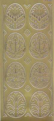 Zier-Sticker-Bogen-Ostern - Eier mit Ornament -gold-1832g