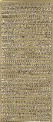 Zier-Sticker-Bogen-Alphabet / Zahlen-ABC/abc/123 -klein-gold-1847g