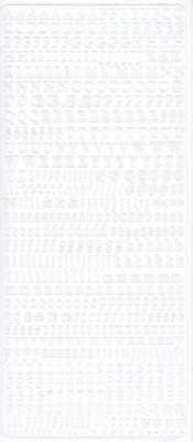 Zier-Sticker-Bogen-Alphabet / Zahlen-ABC/abc/123 -klein-weiß-1847w