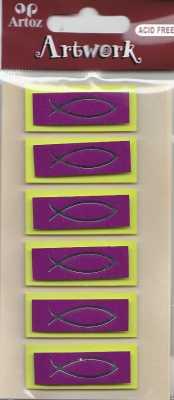 Artoz-3D Sticker-Artwork-Embellishments-50-21-Kommunion-Konfirmation-Taufe-Fische-grün/magenta