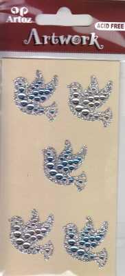 Artoz- Sticker-Artwork-Embellishments-50-45-Kommunion-Konfirmation-Taufe-Tauben mit Strasssteinen