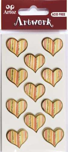 Artoz-3D Sticker-Artwork-Embellishments-50-55-Kommunion-Konfirmation-Taufe-Herzen - orange / gold