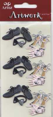 Artoz-3D Sticker-Artwork-Embellishments-60-40-Hochzeit-Schuhe-Fliege-Handschuhe