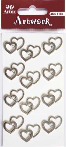 Artoz-3D Sticker-Artwork-Embellishments-70-44- doppelte Herzen - silber / Steinchen