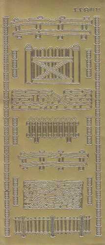 Zier-Sticker-Bogen-verschiedene Zäune-Mauer-gold-1873g