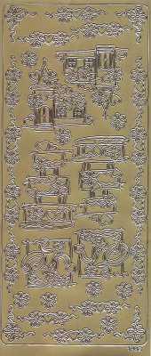 Zier-Sticker-Bogen-Hochzeit-Torte-Kirche-Ringe-Ecken-Ränder-gold-1882g