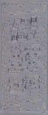 Zier-Sticker-Bogen-Hochzeit-Torte-Kirche-Ringe-Ecken-Ränder-silber-1882s