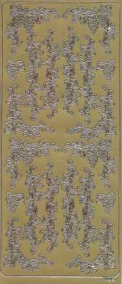 Zier-Sticker-Bogen-Ecken-Ränder-Bordüren-Weinreben-gold-1893g